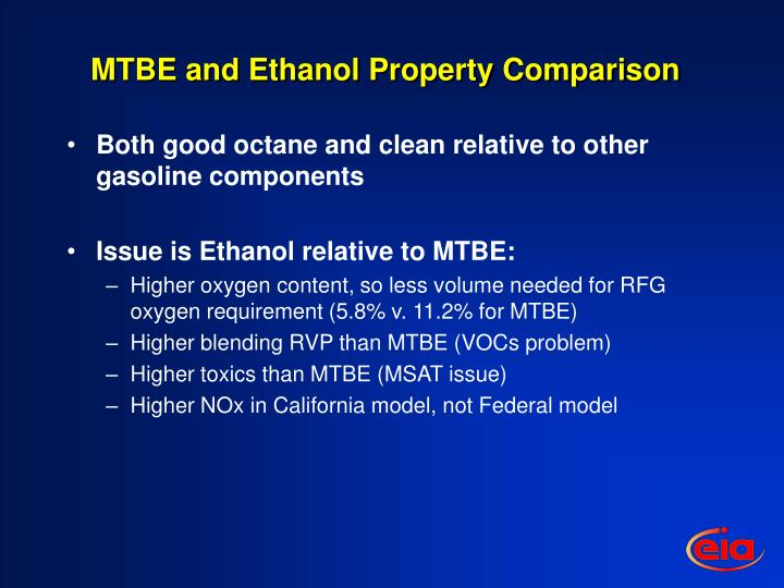 MTBE and Ethanol Property Comparison