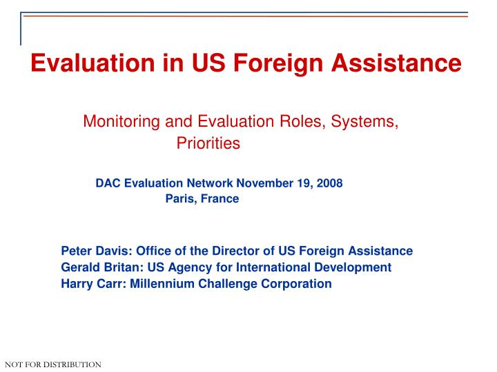 evaluation in us foreign assistance n.