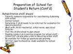 preparation of school for student s return cont d