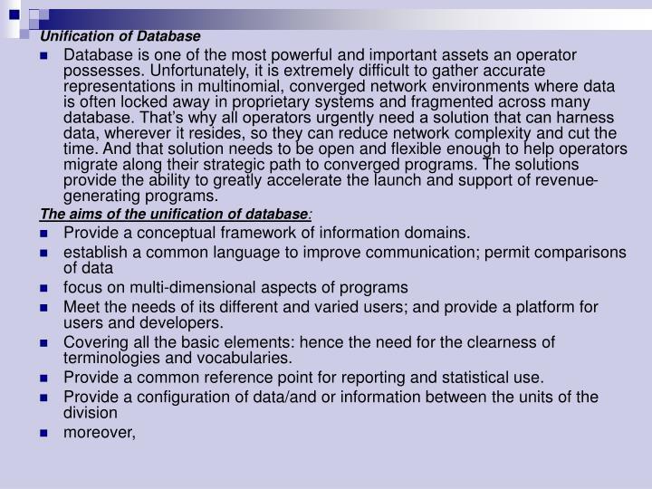 Unification of Database