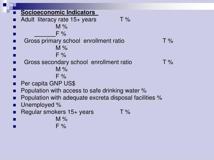 Socioeconomic Indicators