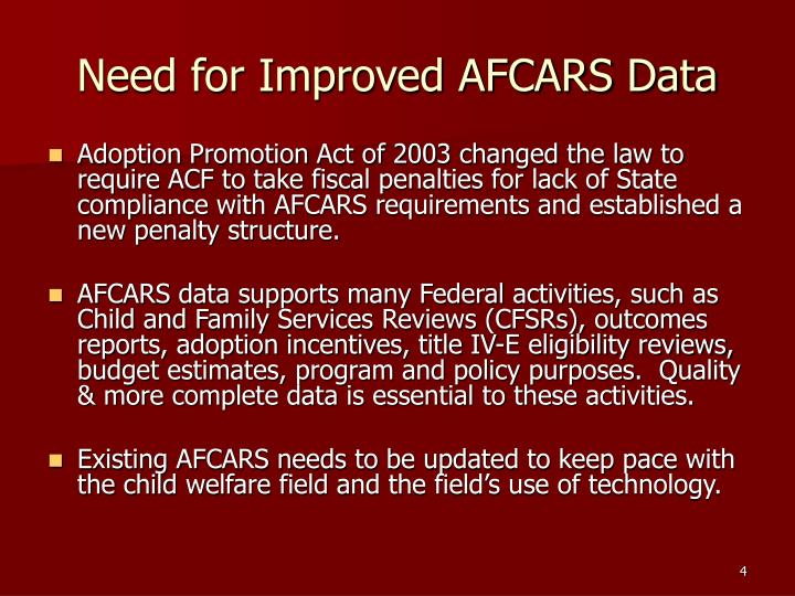 an analysis of adoption and foster care reporting systems Nicwa not only helps tribal child welfare programs evaluate whether pursuing iv -e  the adoption and foster care analysis and reporting system (afcars).