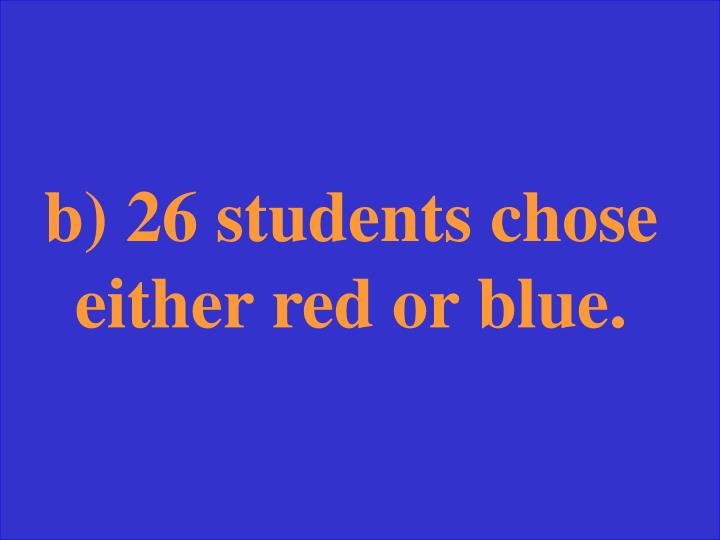 b) 26 students chose either red or blue.