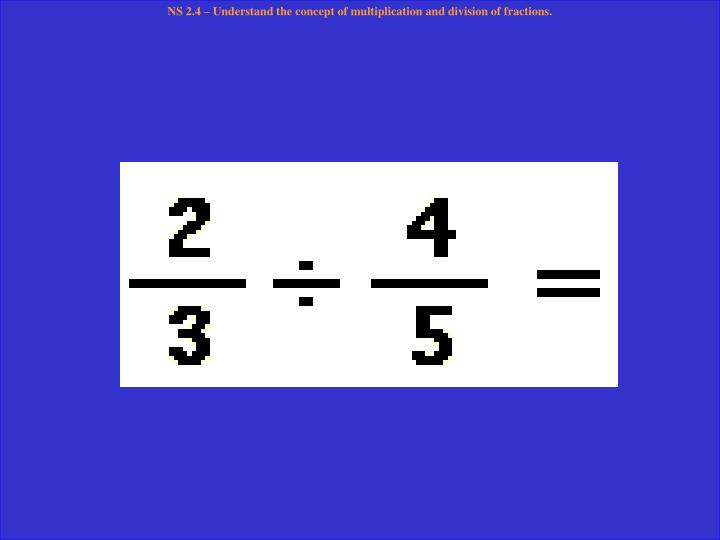 NS 2.4 – Understand the concept of multiplication and division of fractions.