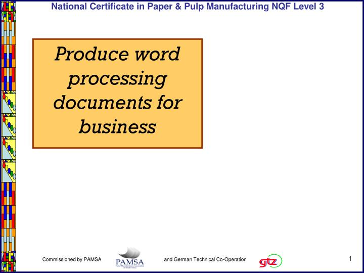 Produce word processing documents for business
