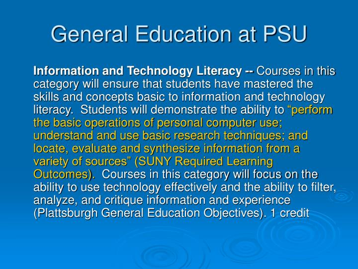 General education at psu3