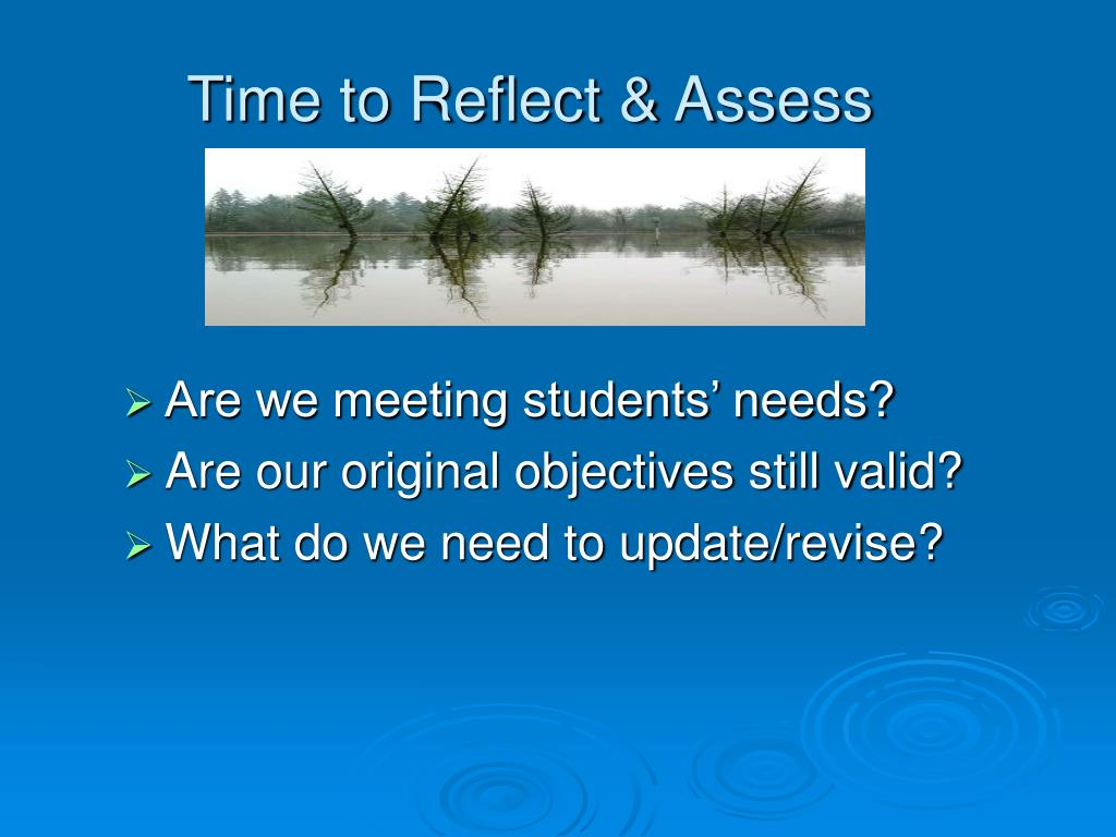 Time to Reflect & Assess