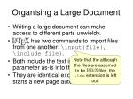 organising a large document49