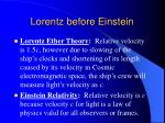 lorentz before einstein