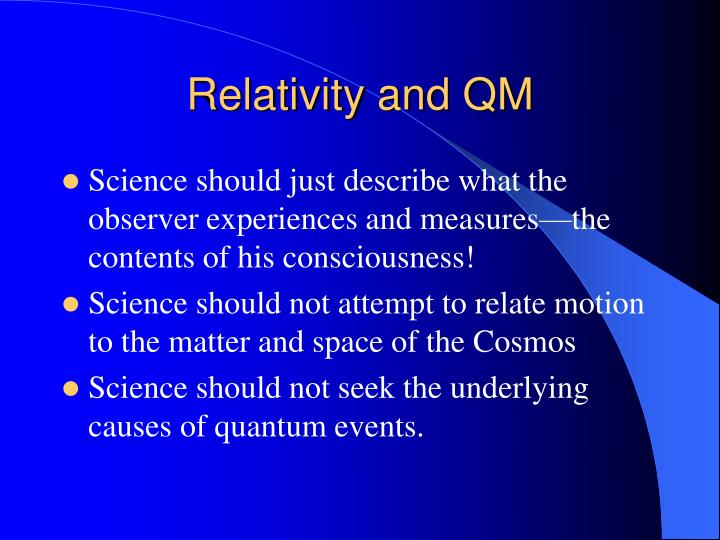 Relativity and QM