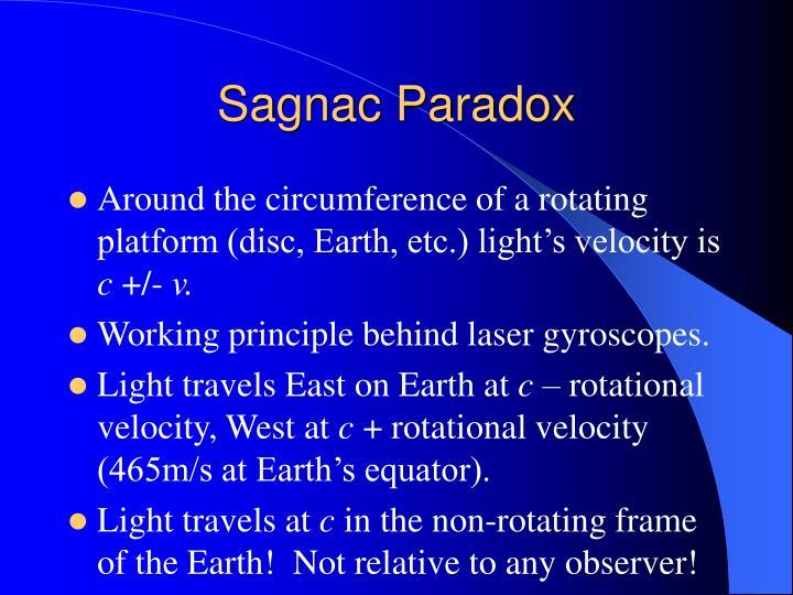 Sagnac Paradox