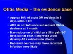 otitis media the evidence base