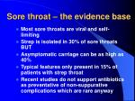 sore throat the evidence base