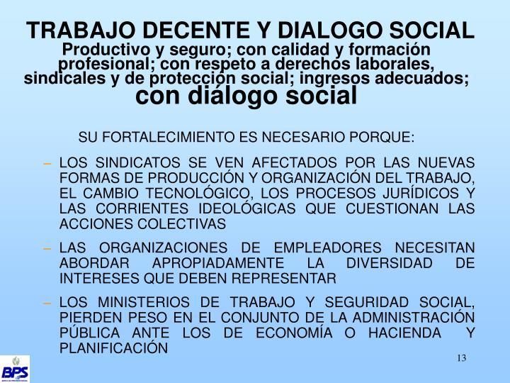 TRABAJO DECENTE Y DIALOGO SOCIAL