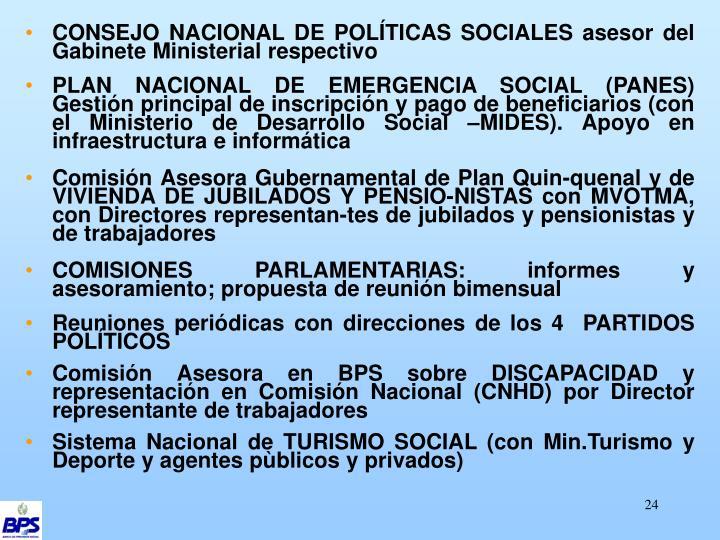 CONSEJO NACIONAL DE POLÍTICAS SOCIALES asesor del Gabinete Ministerial respectivo