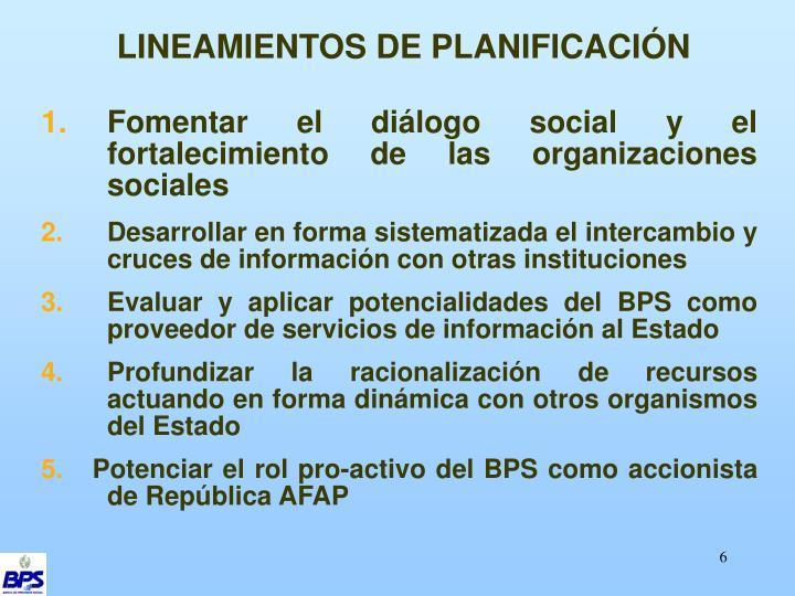 LINEAMIENTOS DE PLANIFICACIÓN
