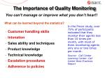 the importance of quality monitoring