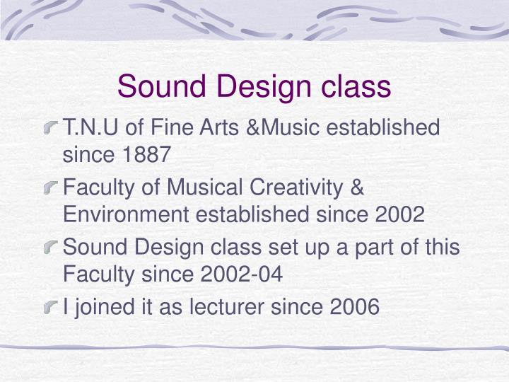 Sound design class