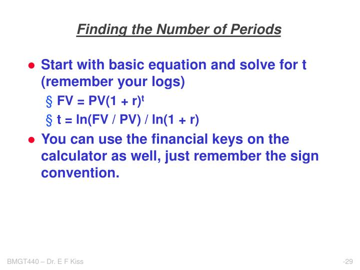 Finding the Number of Periods