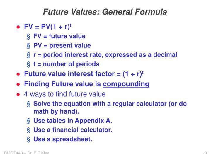 Future Values: General Formula