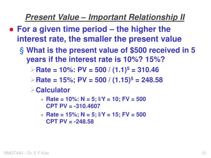 Present Value – Important Relationship II