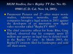 mgm studios inc v replay tv inc no 01 09801 c d cal nov 14 2001