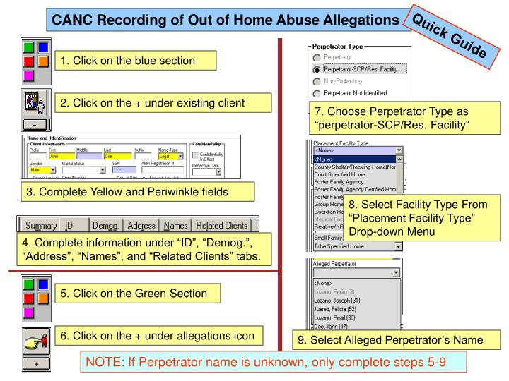CANC Recording of Out of Home Abuse Allegations