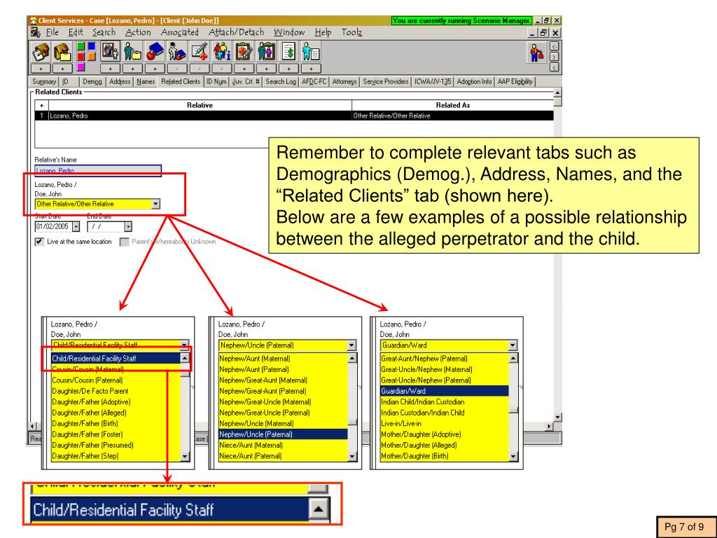 """Remember to complete relevant tabs such as Demographics (Demog.), Address, Names, and the """"Related Clients"""" tab (shown here)."""