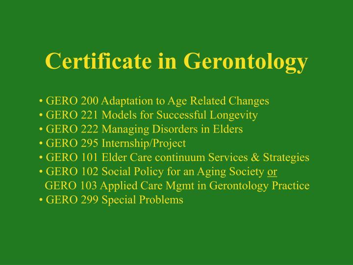 Certificate in Gerontology