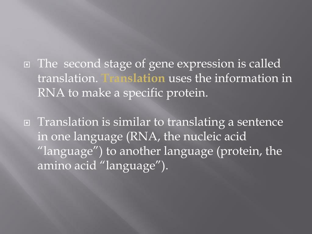 The  second stage of gene expression is called translation.