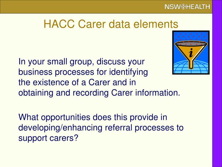 HACC Carer data elements