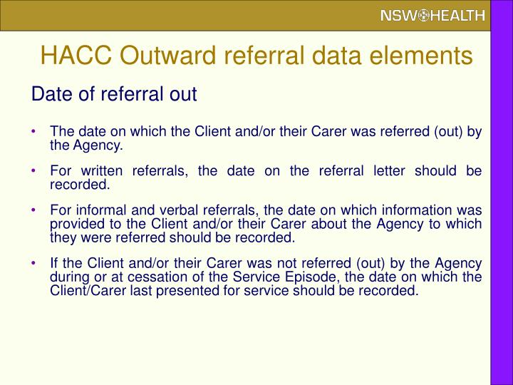 HACC Outward referral data elements