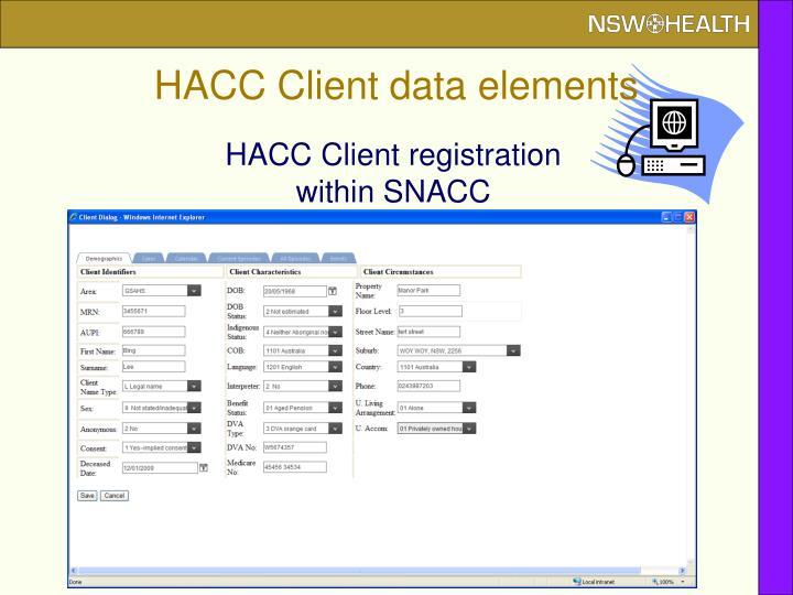 HACC Client data elements