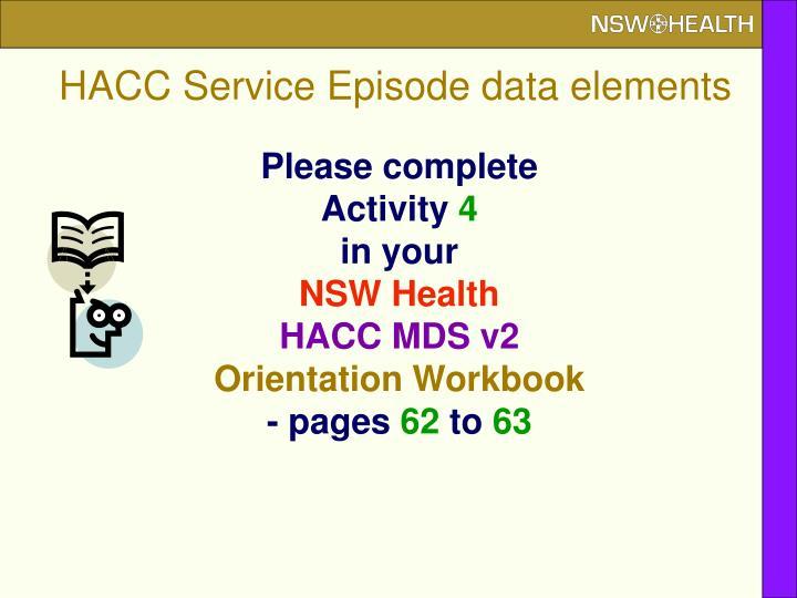 HACC Service Episode data elements