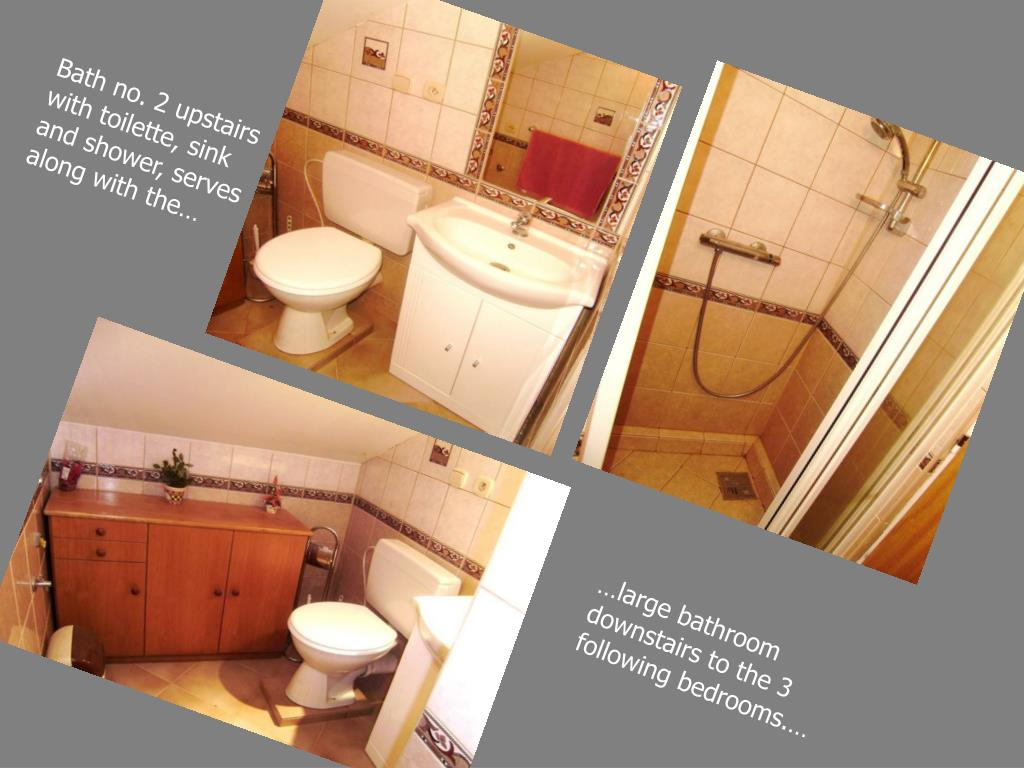 Bath no. 2 upstairs with toilette, sink and shower, serves along with the…