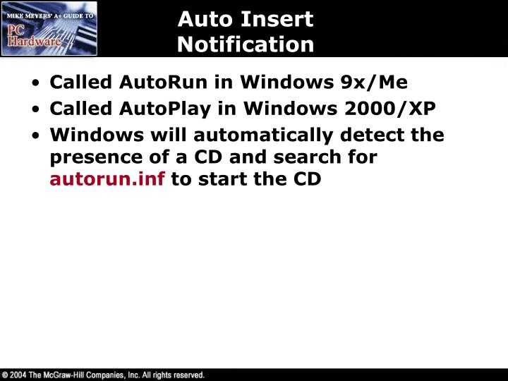 Auto Insert Notification