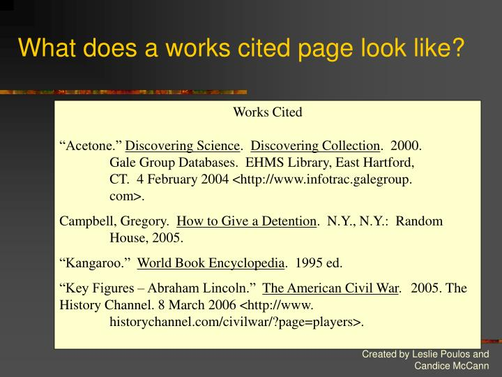 What does a works cited page look like?