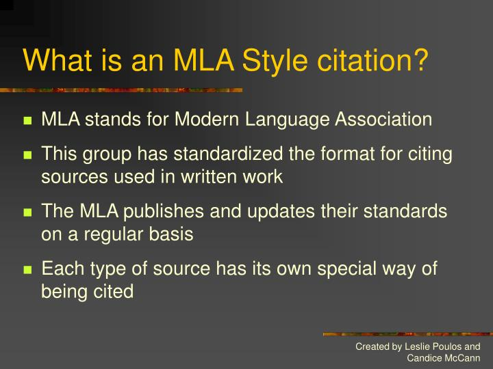 What is an MLA Style citation?