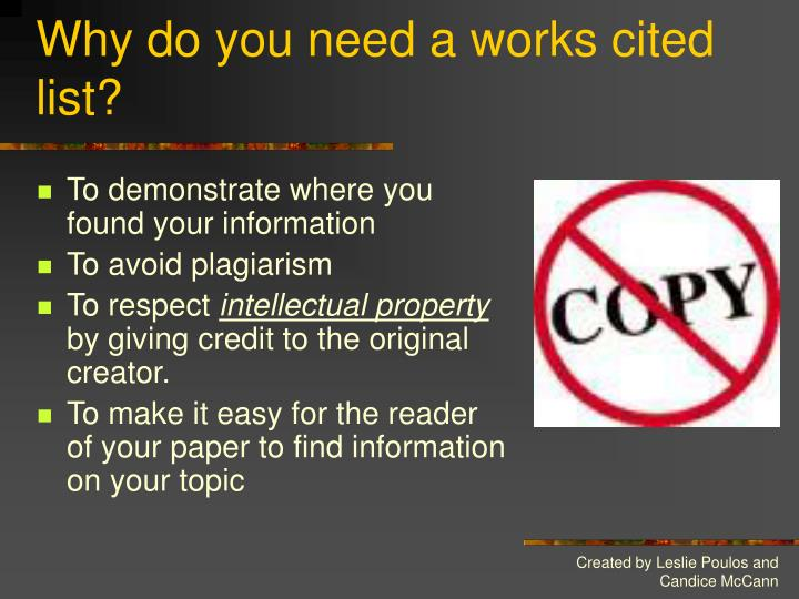 Why do you need a works cited list