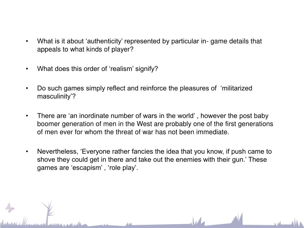 What is it about 'authenticity' represented by particular in- game details that appeals to what kinds of player?
