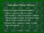 introduce poetic devices