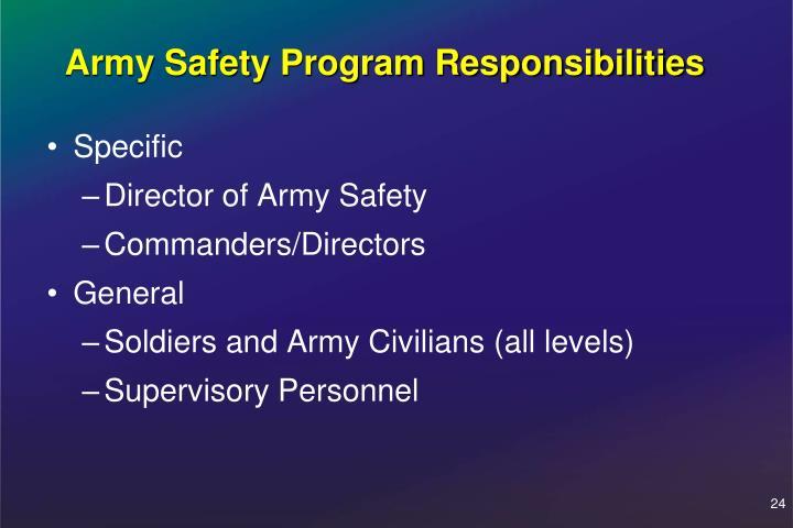 Army Safety Program Responsibilities