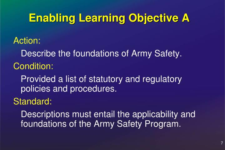 Enabling Learning Objective A