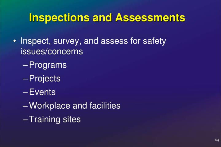 Inspections and Assessments