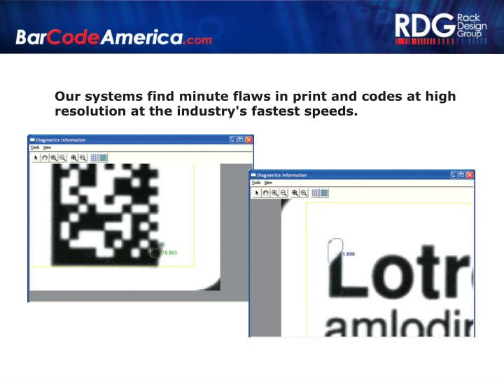 Our systems find minute flaws in print and codes at high resolution at the industry's fastest speeds.