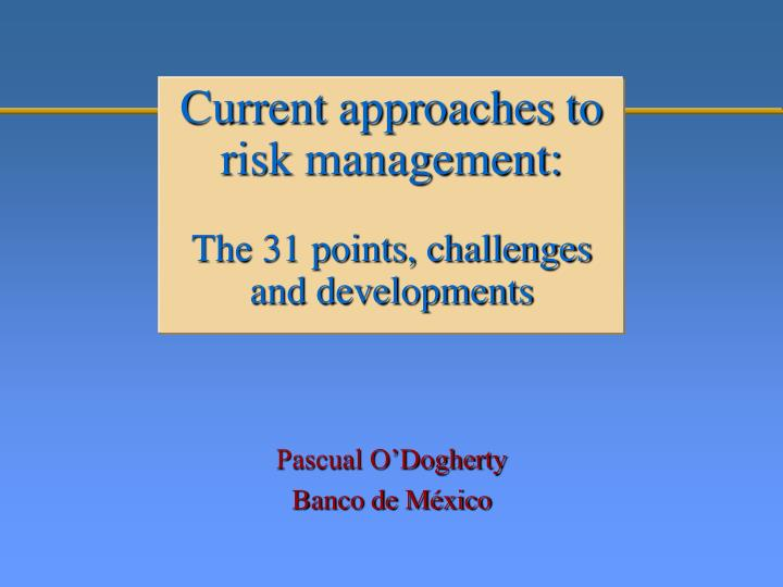 current approaches to risk management the 31 points challenges and developments n.