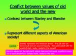 conflict between values of old world and the new