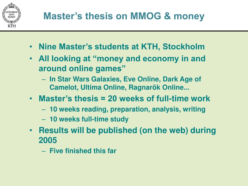Master's thesis on MMOG & money