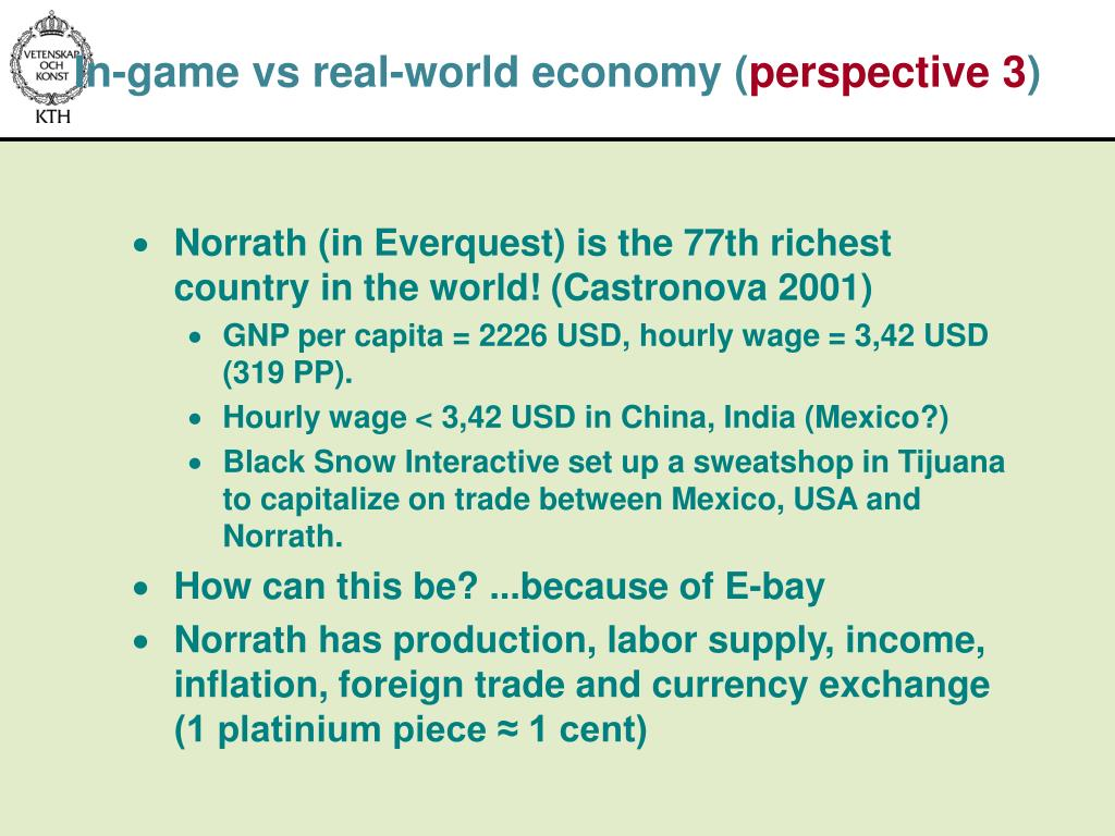 In-game vs real-world economy (