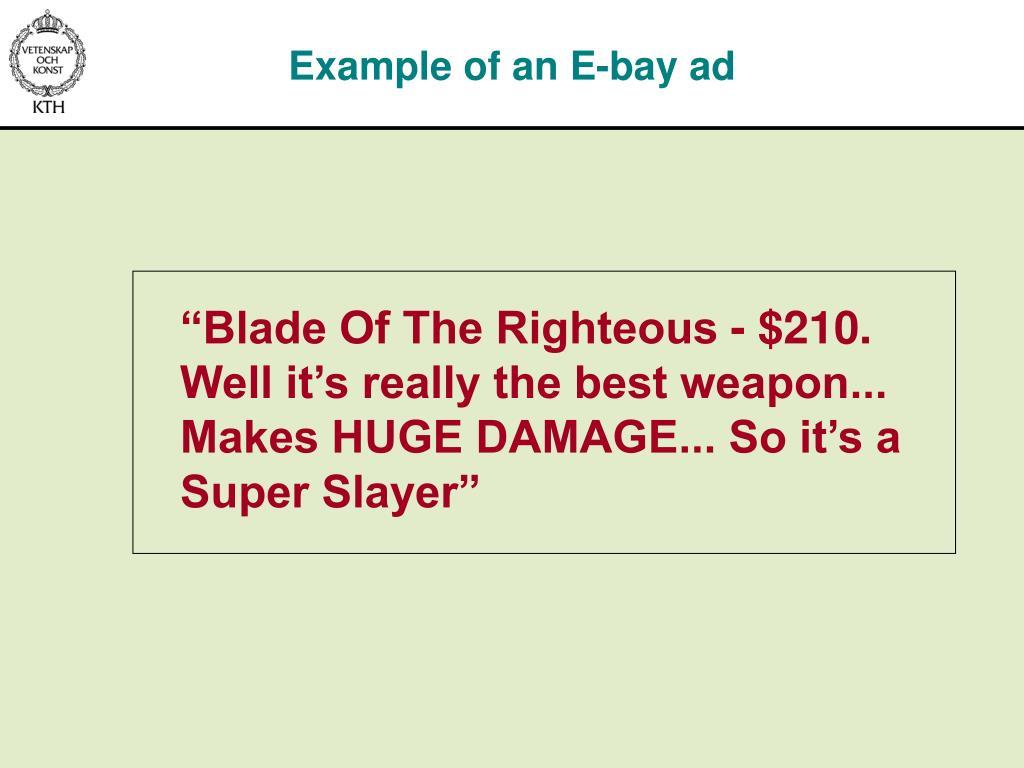 Example of an E-bay ad